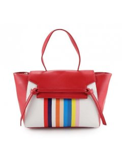 H0757 BLACK HANDBAG WITH RAINBOW STRIPE PANEL Please Click the image for more information.
