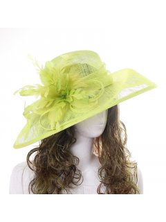 HA0253A LIME GREEN LADIES RACING HAT FEATURING LARGE BOW  FLOWER Please Click the image for more information.
