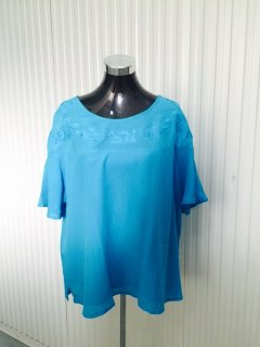 K069C BLUE LADIES TOP WITH EMBROIDERED BODICEAVAILABLE IN PACK OF 4  MLXLXXL Please Click the image for more information.