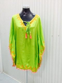 K078 LIME PONCHO WITH EMBROIDERED EDGESPACK OF MLXL Please Click the image for more information.