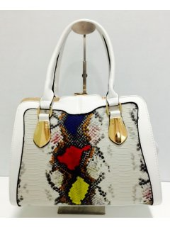 H0734C WHITE HANDBAG WITH CROC PRINT INSERT Please Click the image for more information.