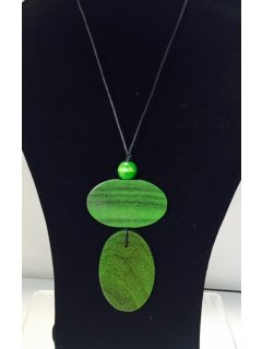 10835B GREEN WOODEN NECKLACE Please Click the image for more information.