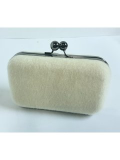 H0792A WHITE FAUX FUR EVENING BAG Please Click the image for more information.