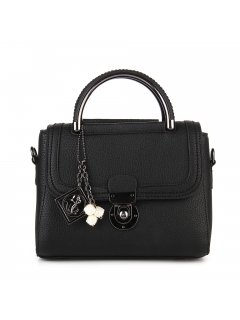 H0794 BLACK LADIES HANDBAG  MID SIZE  SHORT  LONG HANDLES Please Click the image for more information.