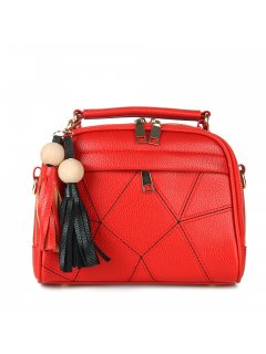 H0798A RED LADIES HANDBAG WITH STITCHED PANELS Please Click the image for more information.