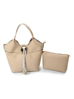 H0815C TAUPE LADIES HANDBAG WITH ROPE CLASPBONUS TOTE INCLUDED Please Click the image for more information.