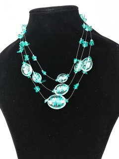 10097B BLUE 3TIER GLASS NECKLACE Please Click the image for more information.