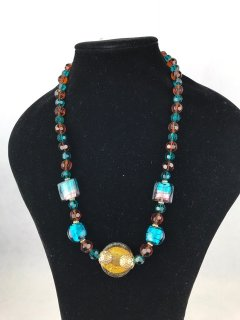6931A LADIES BLUEAMBER GLASS NECKLACE Please Click the image for more information.