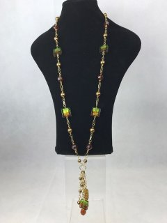 6935 LOOKS LIKE MURANO  GREENAMBER GLASS LADIES NECKLACE Please Click the image for more information.