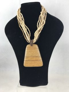 0418 CREAM WOODEN NECKLACE Please Click the image for more information.