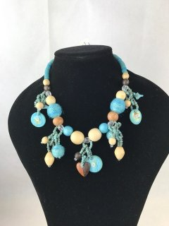 9654 BLUE WOODEN NECKLACE Please Click the image for more information.