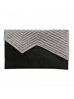 H0842 BLACK EVENING BAG WITH SILVER ZIGZAG FRONT PANEL Please Click the image for more information.