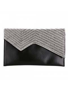 H0842B BLACK EVENING BAG WITH CHARCOAL ZIGZAG FRONT PANEL Please Click the image for more information.