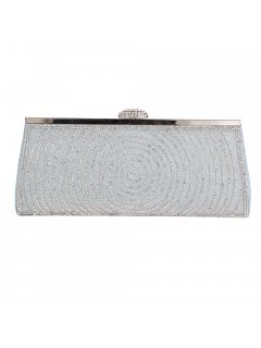 H0823C SILVER EVENING BAG WITH DIAMONTE TRIM Please Click the image for more information.