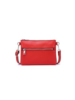 h0822c RED LEATHER BAG WITH STRAP AND ZIP FRONT Please Click the image for more information.