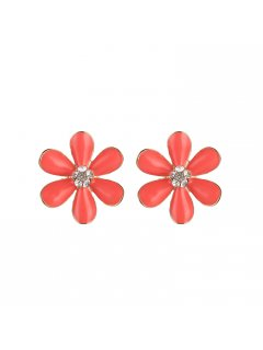 E0672 CORAL FLOWER CLIP ON EARRINGS Please Click the image for more information.
