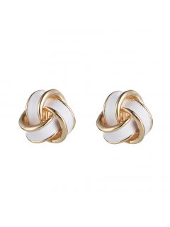 E0674C WHITE KNOT CLIP ON EARRINGS Please Click the image for more information.