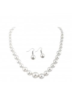 10650D Cream Pearl Necklace With Matching Earrings Please Click the image for more information.