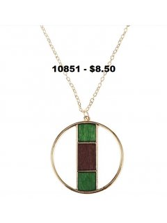 10851 GOLD NECKLACE WITH GREEN  BROWN STRIPE Please Click the image for more information.
