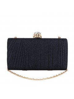 H0871 BLACK PLEATED EVENING BAG WITH GEM CLASP Please Click the image for more information.