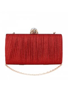 H0871D RED PLEATED EVENING BAG WITH GEM CLASP Please Click the image for more information.