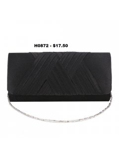 H0872 BLACK SATIN EVENING BAG WITH CROSSOVER FRONT TRIM Please Click the image for more information.