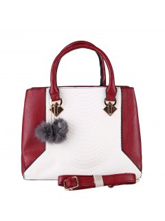 H0877B LADIES RED  WHITE HANDBAGHAS BOTH SHORT AND LONG STRAP Please Click the image for more information.