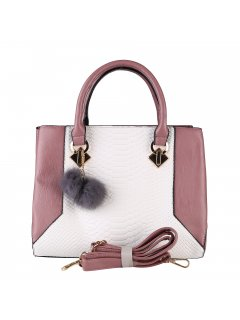 H0877C LADIES PINK  WHITE HANDBAGINC LONG AND SHORT STRAP Please Click the image for more information.