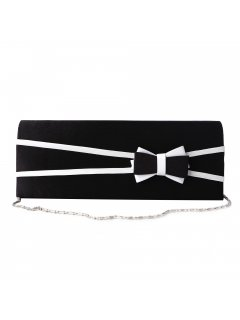 H0861 BLACK  WHITE BOW EVENING BAG Please Click the image for more information.