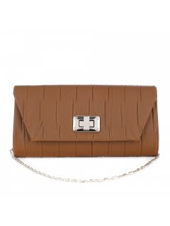 H0858A BROWN EVENING BAG WITH PINTUCKED FEATURE Please Click the image for more information.