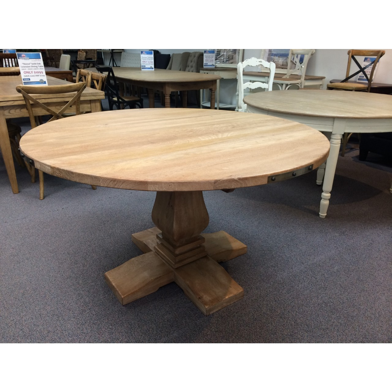 hampton style pedestal solid hardwood round timber dining table