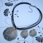 Designer Necklace with Earings Stunning designer silver pendant on a black multi cord necklace with matching earingsPresented in a gorgeous black jewellery box. Please Click the image for more information.