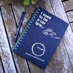 Note Pad - Tyre Imagine how many tyres get discarded each year from millions of cars on our planet  Heres a creative way of reusing them  This notebook will impress your enviro savvy manREMARKABLES I use to be a car tyre A5 notepad is made from recycled elements the cover is made from recyled car tyres and the paper inside is recycled alsoREMARKABLE w. Please Click the image for more information.