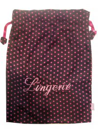 BLACK WITH PINK DOTS LINGERIE BAG BLACK SATIN LINGERIE BAG WITH PINK DOTS Please Click the image for more information.