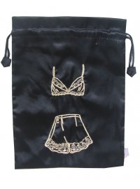 BLACK SATIN LINGERIE BAG BLACK BEADED SATIN LINGERIE BAG Please Click the image for more information.