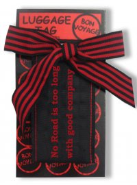 """LUGGAGE TAG """"NO ROAD"""" RED AND BLACK LUGGAGE TAG NO ROAD IS TOO LONG WITH GOOD COMPANY RED AND BLACK Please Click the image for more information."""