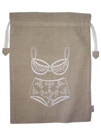 NATURAL LINGERIE BAG NATURAL LINGERIE BAG WITH WHITE EMBROIDERED BRA AND PANTS Please Click the image for more information.