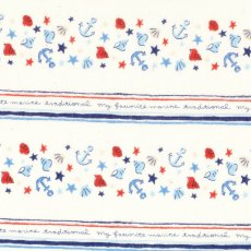 Le Nautisme Marine Stripe Cream Double Gauze Come sailing with me with this very sweet boys fabric featuring shells and anchor stripes with cursive writing in between. Please Click the image for more information.