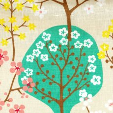 Haga Emerald & Green on Sand Haga fabric designed by Swedish designer Bitte StenstramA larger scale whimsical tree and blossom design printed on a beautiful textured cottonlinen blend Haga. Please Click the image for more information.