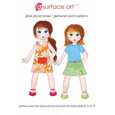 Surface Art Pinny & Gathered Skirt Let your fabrics shine in this simple Surface Art Pinny  gathered skirt patternPattern and full instructions included for kids sizes 2 4 6 8 Please Click the image for more information.
