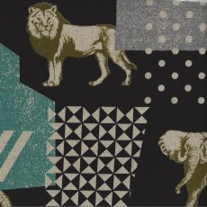 Echino Zon Black Designed by Japanese textile designer Etsuko Furuya Echino Zon is a fabulous larger scale design of  animals together with geometrics in a unique range of colour tonesA . Please Click the image for more information.
