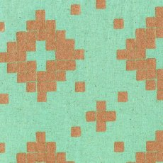 Cotton + Steel Mesa Tile Aqua Metallic Copper Mesa Tile by Cotton  Steel and is a contemporary geometric design printed on a medium weight cottonlinen canvas. Please Click the image for more information.
