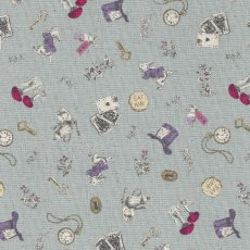 Alice in Wonderland Small Dusty Sky Alice in Wonderland is a classic and favourite fable amongst children around the world This quaint Alice in Wonderland fabric is sure to light up little faces no matter the project Printed on a medium weight cottonlinen blend this design will work well for home decorating projects for nurseries and bedrooms or for apparel quilting bags etc. Please Click the image for more information.
