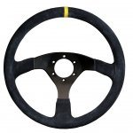RPM SL S/W Sprint 350mm flat suede black Black Suede 350mm Rally steering wheel with yellow center stripe Flat wheel for standard fitment Please Click the image for more information.