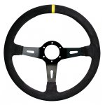 RPM SL S/W Racing 3 350mm 65mm dish suede black Black Suede 350mm Rally steering wheel with yellow center stripe 65mm dished wheel for extended fitment. Please Click the image for more information.