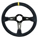 RPM SL S/W Racing 3 350mm 90mm dish suede black Black Suede 350mm Rally steering wheel with yellow center stripe 90mm dished wheel for extended fitment. Please Click the image for more information.
