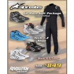 ALPS GP RACE SUIT package - Suit + Shoes choose Alpinestars GP Race suit with Alpinestars Tech 1 Z shoes as packageLimited size and colours onlyOnly available through Adelaide Brisbane Mitcham Perth and Sydney stores or ONLINE Please Click the image for more information.