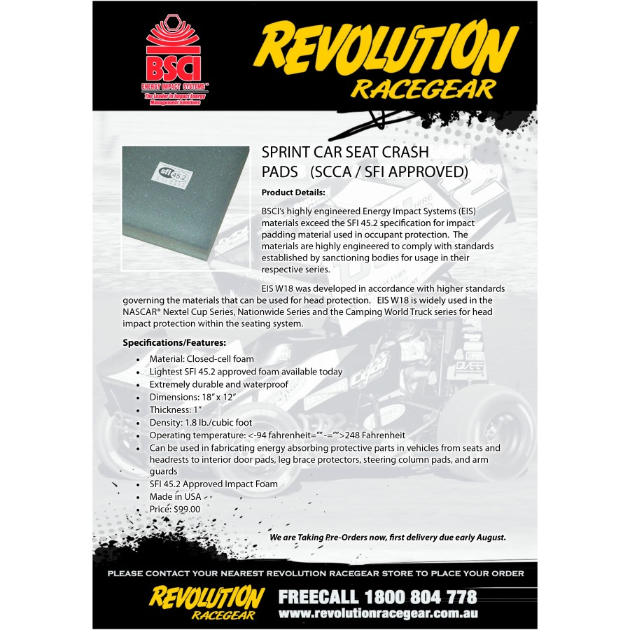 BSCI SEAT CRASH PAD | Revolution Racegear