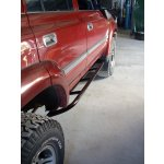 80 Series Landcruiser Gusseted Sliders 80 Series Landcruiser gusseted sliders These sliders are mounted angled up to follow the line of the sill and give you that added bit of clearance . Please Click the image for more information.