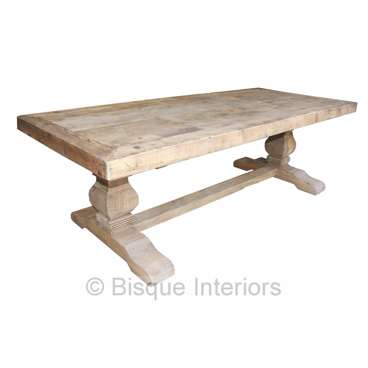 CARVED NATURAL LEG DINING TABLE
